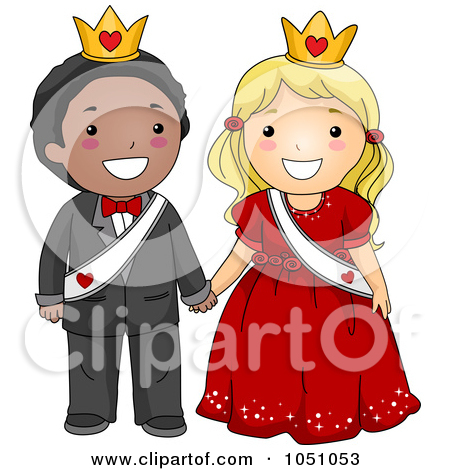 Clipart of a Sketched Homecoming Queen and Queen.