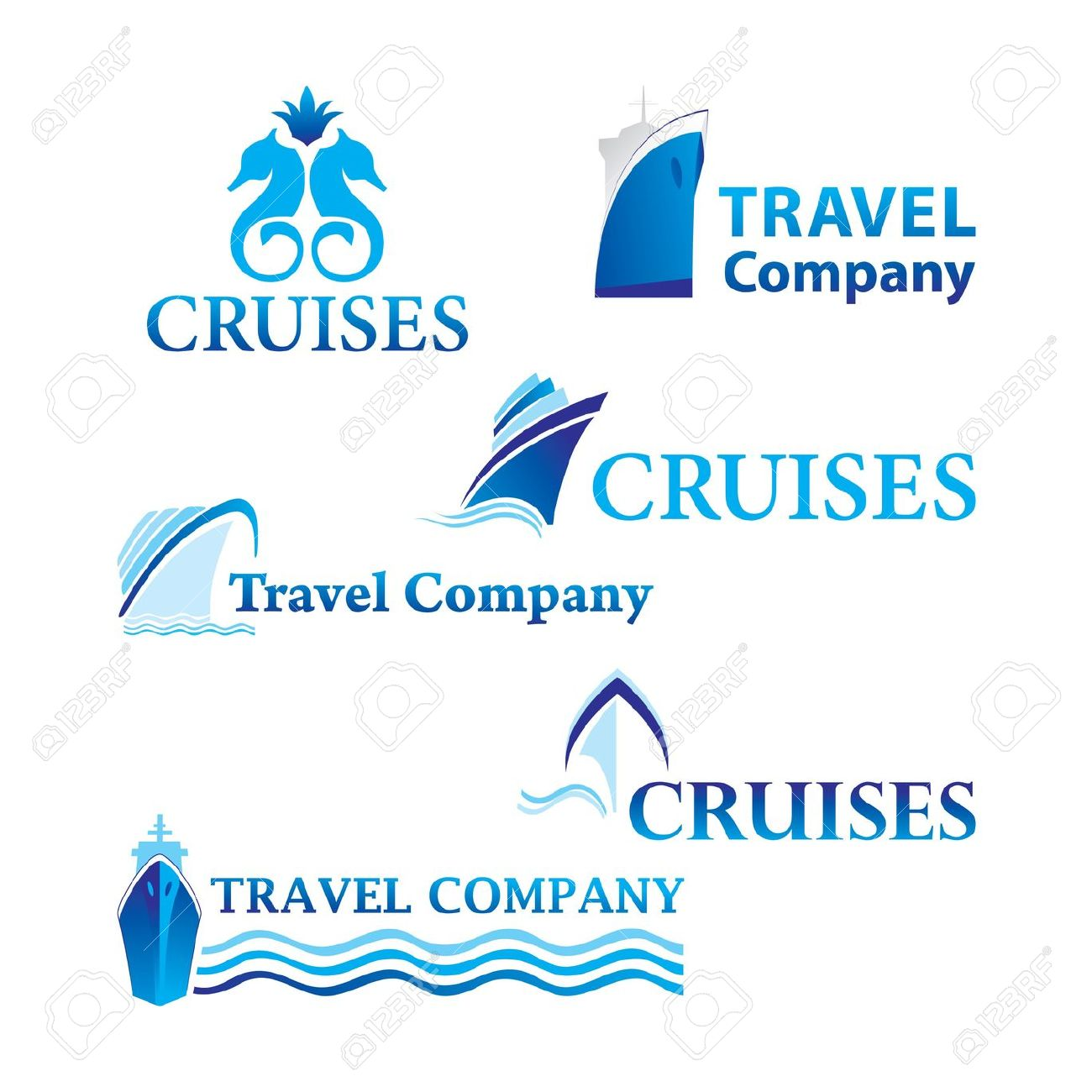 Travel And Cruises. Set Of Corporate Logo Templates. Just Place.