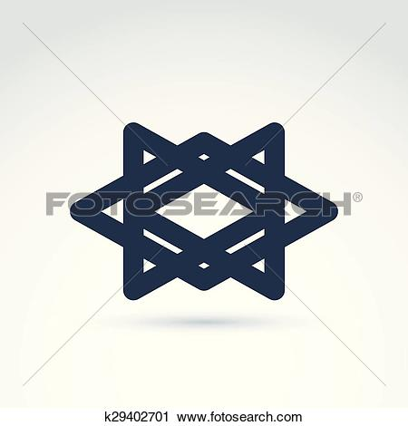 Clipart of Vector abstract intersected monochrome rhombs and.