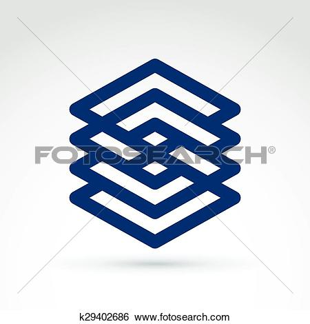 Clip Art of Four vector abstract intersected monochrome rhombs.