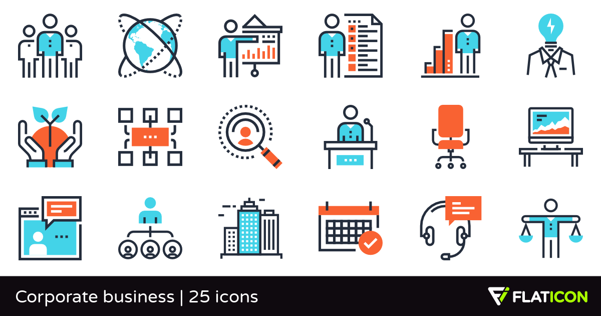 Corporate business 25 premium icons (SVG, EPS, PSD, PNG files).