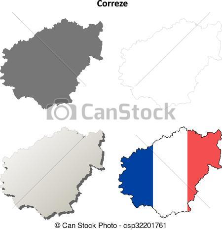 Clip Art Vector of Correze, Limousin outline map set.