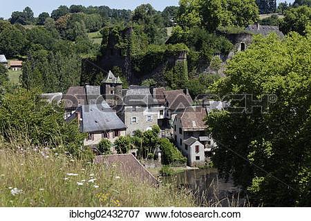 """Picture of """"Townscape, Segur le Chateau, labelled Les Plus Beaux."""