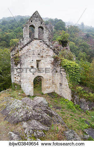 "Stock Photo of ""Ruins of 12th century church of Saint Etienne de."