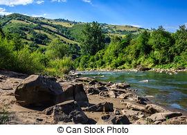 Stock Photo of Tara River near the village of Okunevo. Omsk Region.