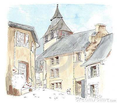 Limousin Cows Village Stock Illustrations.