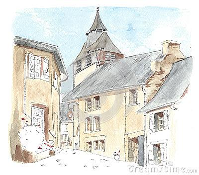 Limousin Cows Village Stock Illustrations.