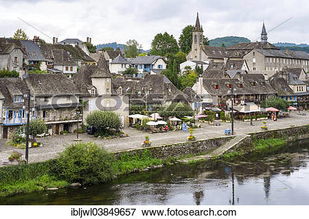"""Picture of """"Townscape of Argentat on the Dordogne River, Correze."""