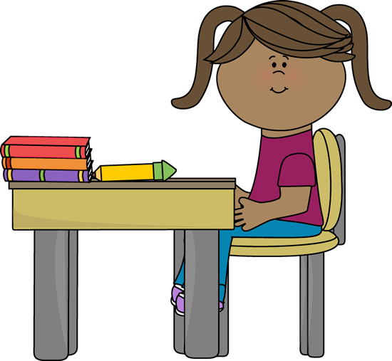 Student sitting in chair correctly clipart.