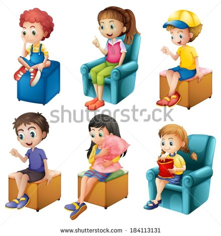 Girl sitting correctly in his chair clipart.