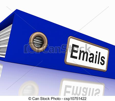 Clip Art of Emails File Showing Contacts and Correspondence.