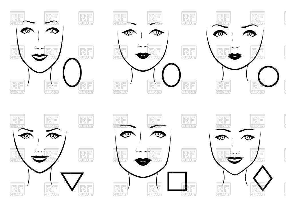 Set of human faces type with corresponding geometric shapes Vector.