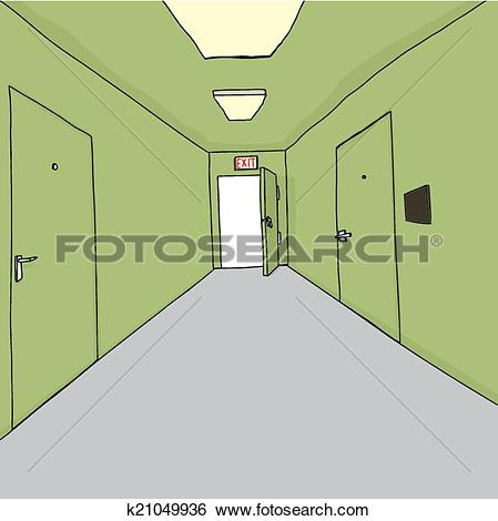 Clip Art of Office Corridor with Exit k21049808.