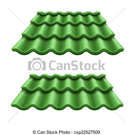Vector Clipart of Green corrugated tile element of roof. Eps10.