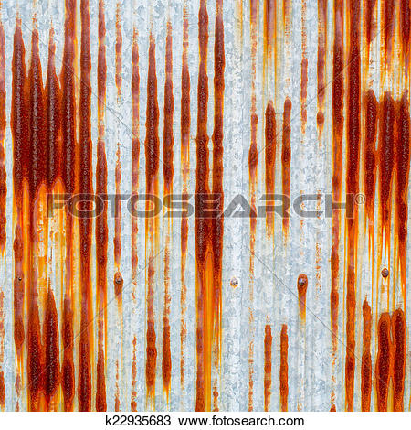 Drawing of rusty corrugated iron metal texture k22935683.