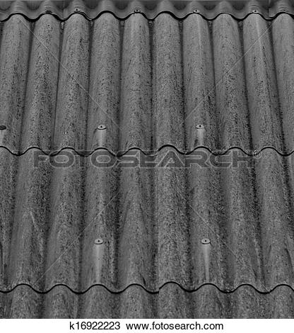 Drawing of gray corrugated slate roof k16922223.