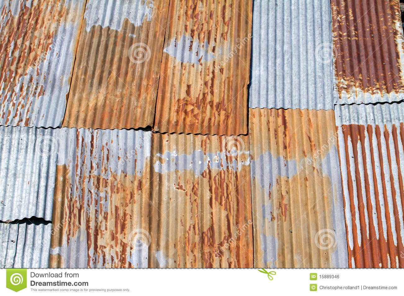 Old Corrugated Metal Roof Royalty Free Stock Image.