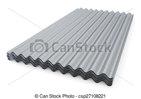 Clip Art of Corrugated metallic slates for roofing isolated on.