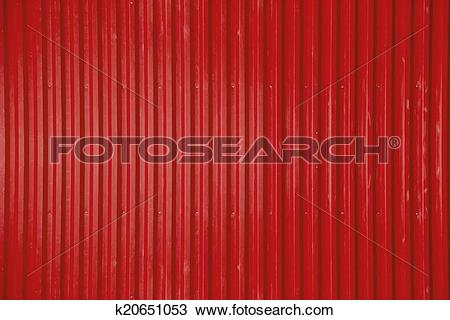 Stock Photo of red corrugated metal sheet texture background.