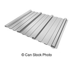 Clip Art of Corrugated metal sheet. 3d illustration isolated on.