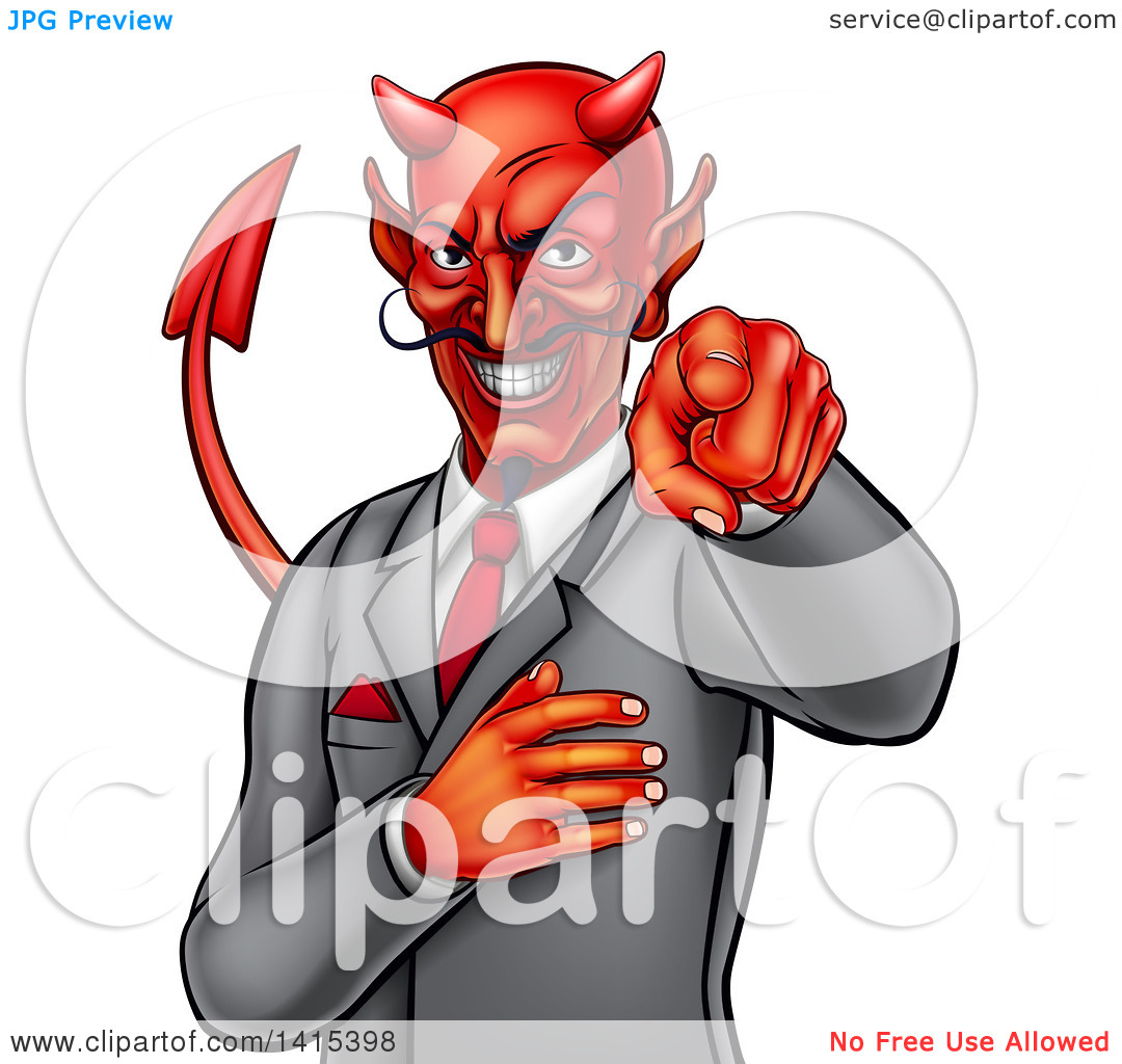 Clipart of a Corrupt Devil Businessman Pointing Outwards, from the.