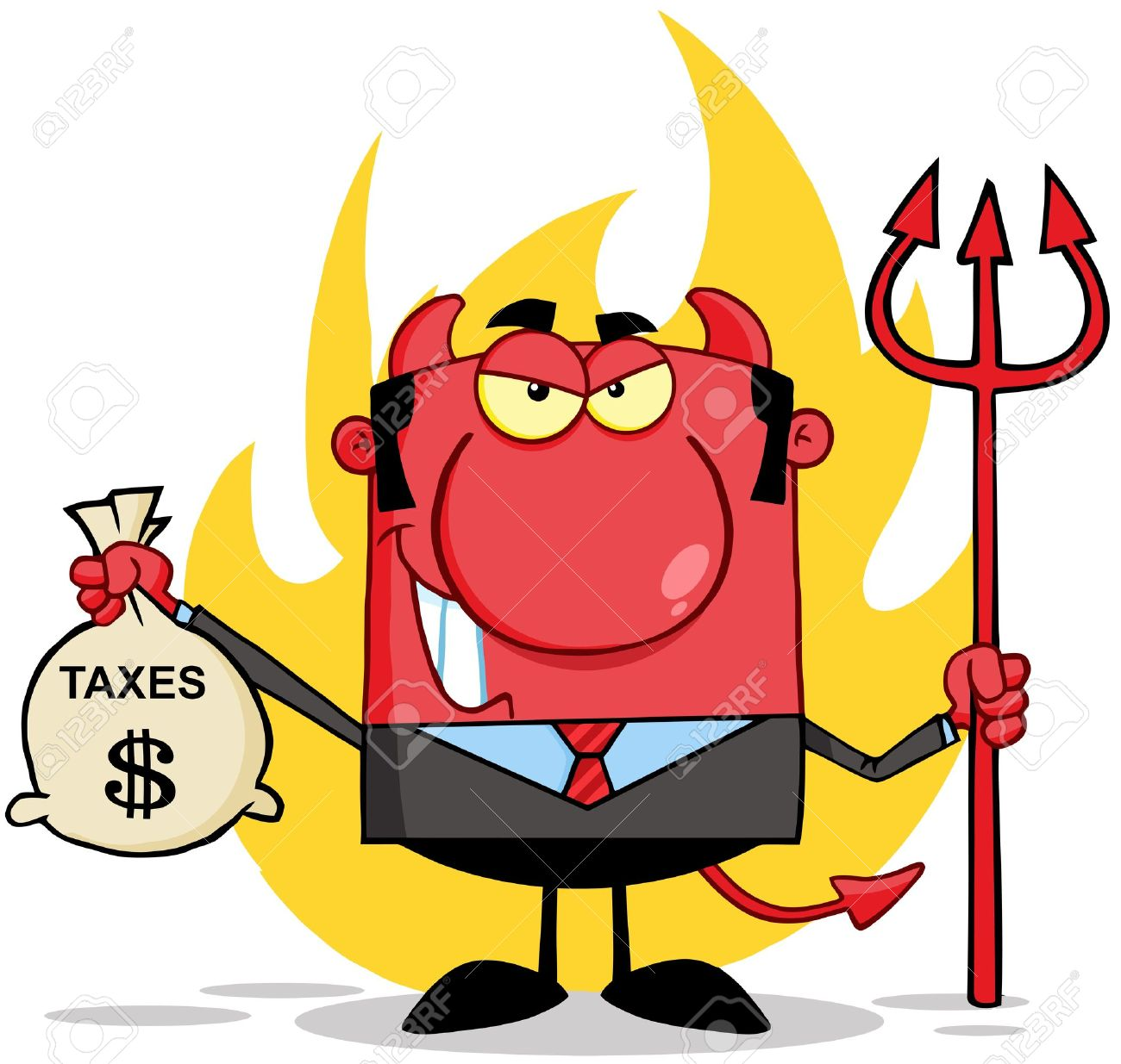 Smiling Devil With A Trident And Holding Taxes Bag Royalty Free.