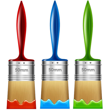 3 Colorful Paint Brushes PSD Download.