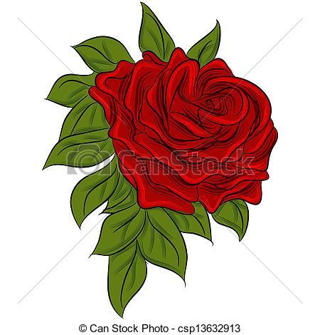 Vector Clip Art of Rose Drawing.
