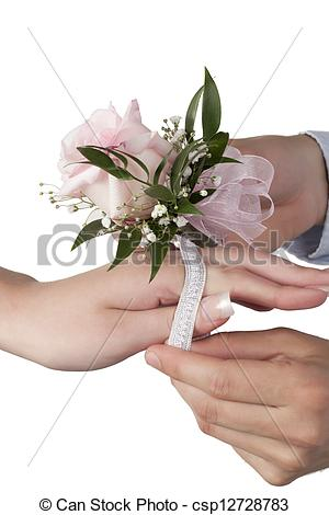 Pictures of putting pink rose corsage on the females wrist.
