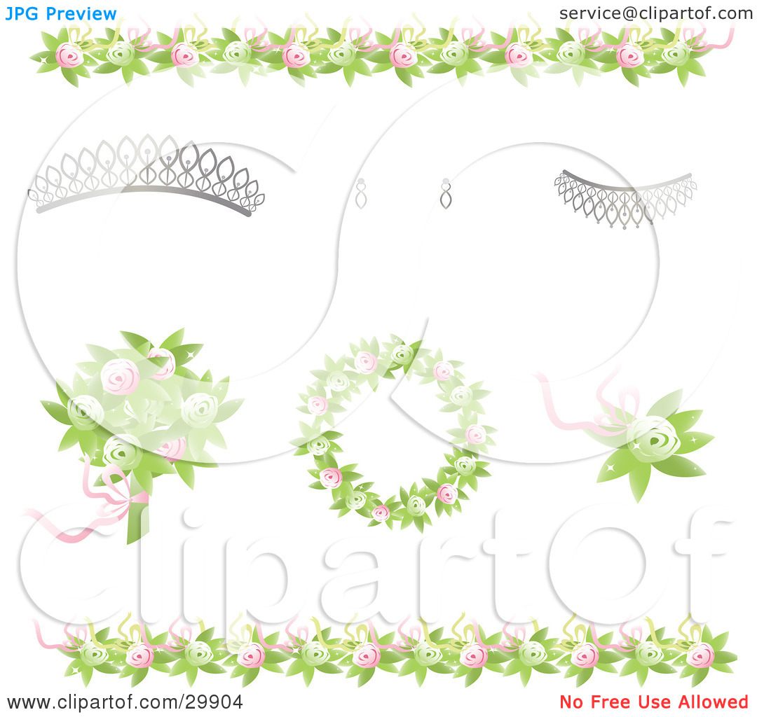 Clipart Illustration of Design Elements Of Green And Pink Rose.