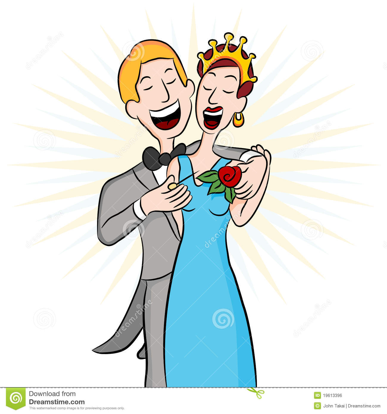 Prom Date Pinning The Corsage Royalty Free Stock Image.