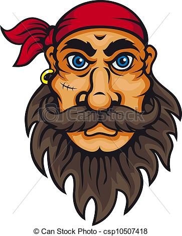 Vector Clip Art of Old corsair in cartoon style for mascot or.
