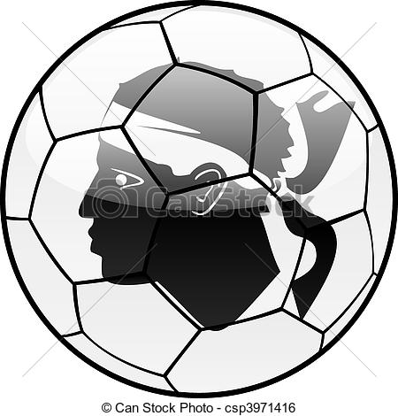 Clip Art Vector of Corsica flag on soccer ball.