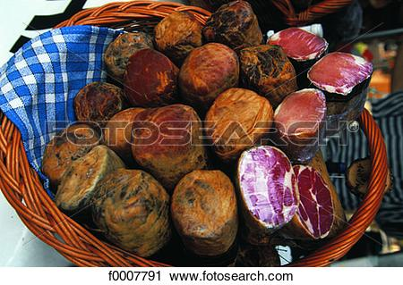 Stock Photography of France, Corsica, Corsican cold cuts in basket.