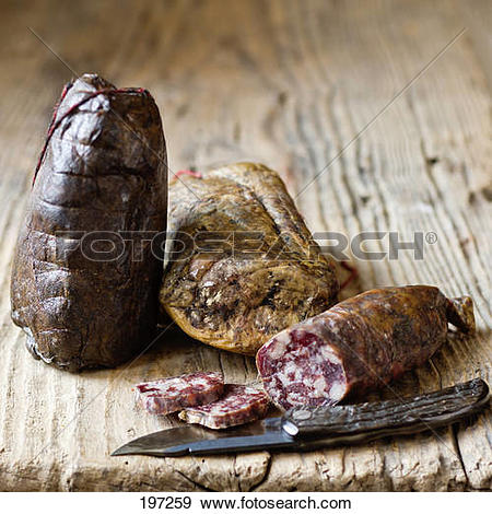 Stock Photograph of Paul Marcaggi's AOC Corsican cold pork meats.