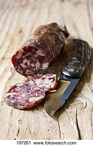Stock Photography of Paul Marcaggi's AOC Corsican dried sausage.
