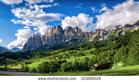 Italy Beauty Dolomites Mountains Above Cortina Stock Photo.