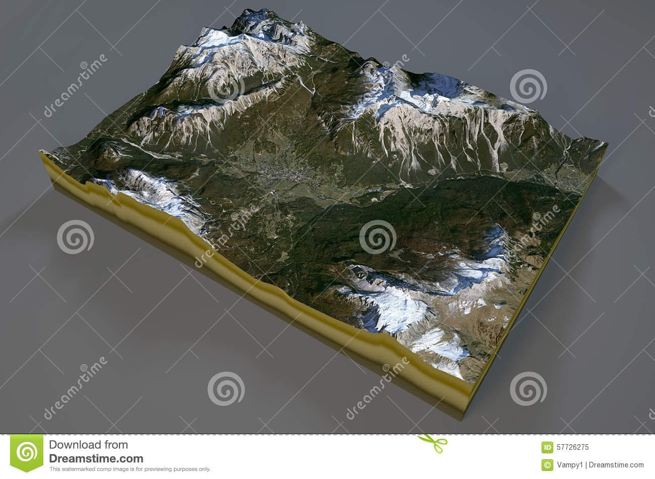 Satellite View Of Cortina D'Ampezzo, Mountains, Dolomites, Italy.