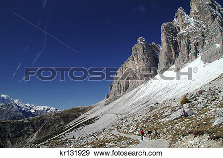 Stock Photograph of Hikers On Trail Refugio Locatelli Parco.