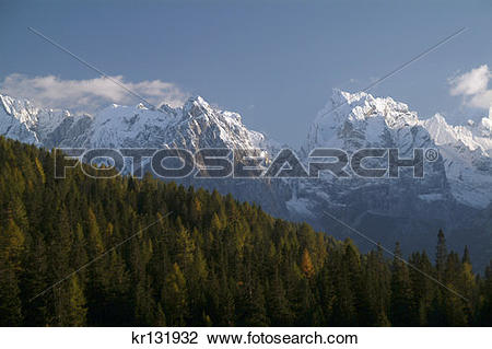 Stock Photo of Italian Alps Dolomiters Larch Trees North Of.