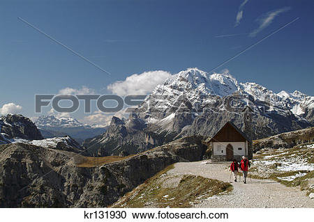 Stock Photography of Hikers Trailside Chapel Parco Naturale.
