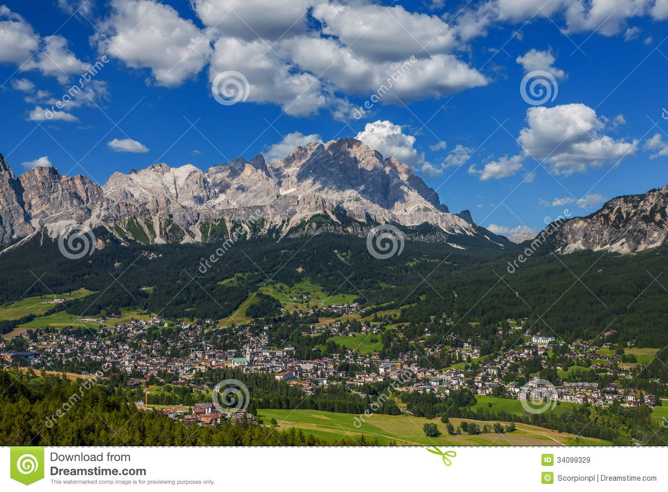 View Of Cortina D'Ampezzo, Italy Royalty Free Stock Images.