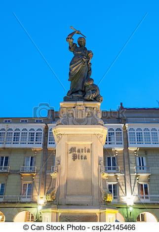 Stock Image of Monument to Maria Pita in La Coruna, Spain.