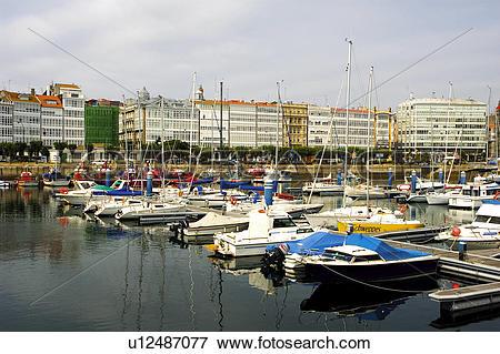 Picture of Spain, Galicia, Coruña, A coruña, Harbor, Harbour, Ship.