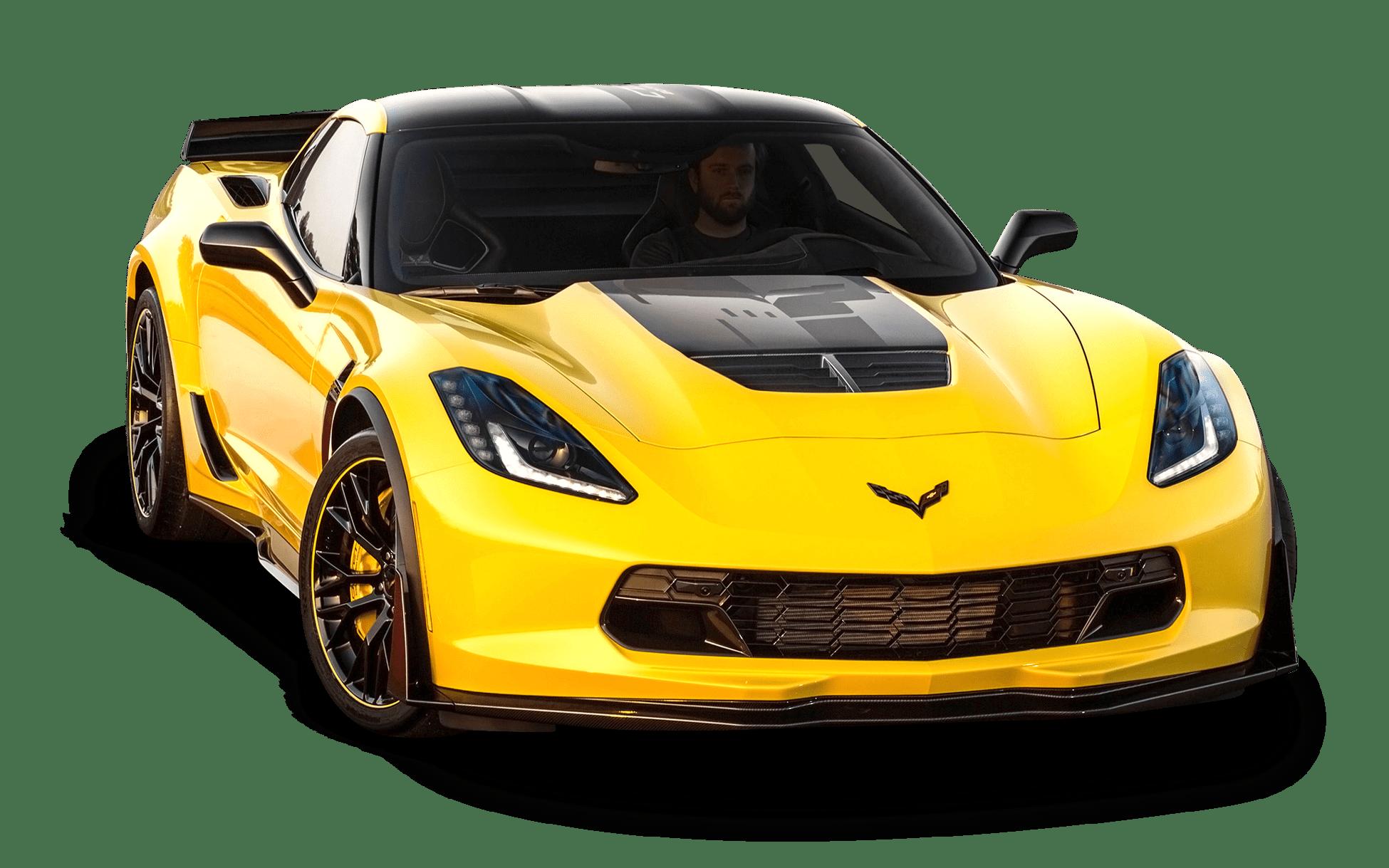 Yellow Corvette transparent PNG.
