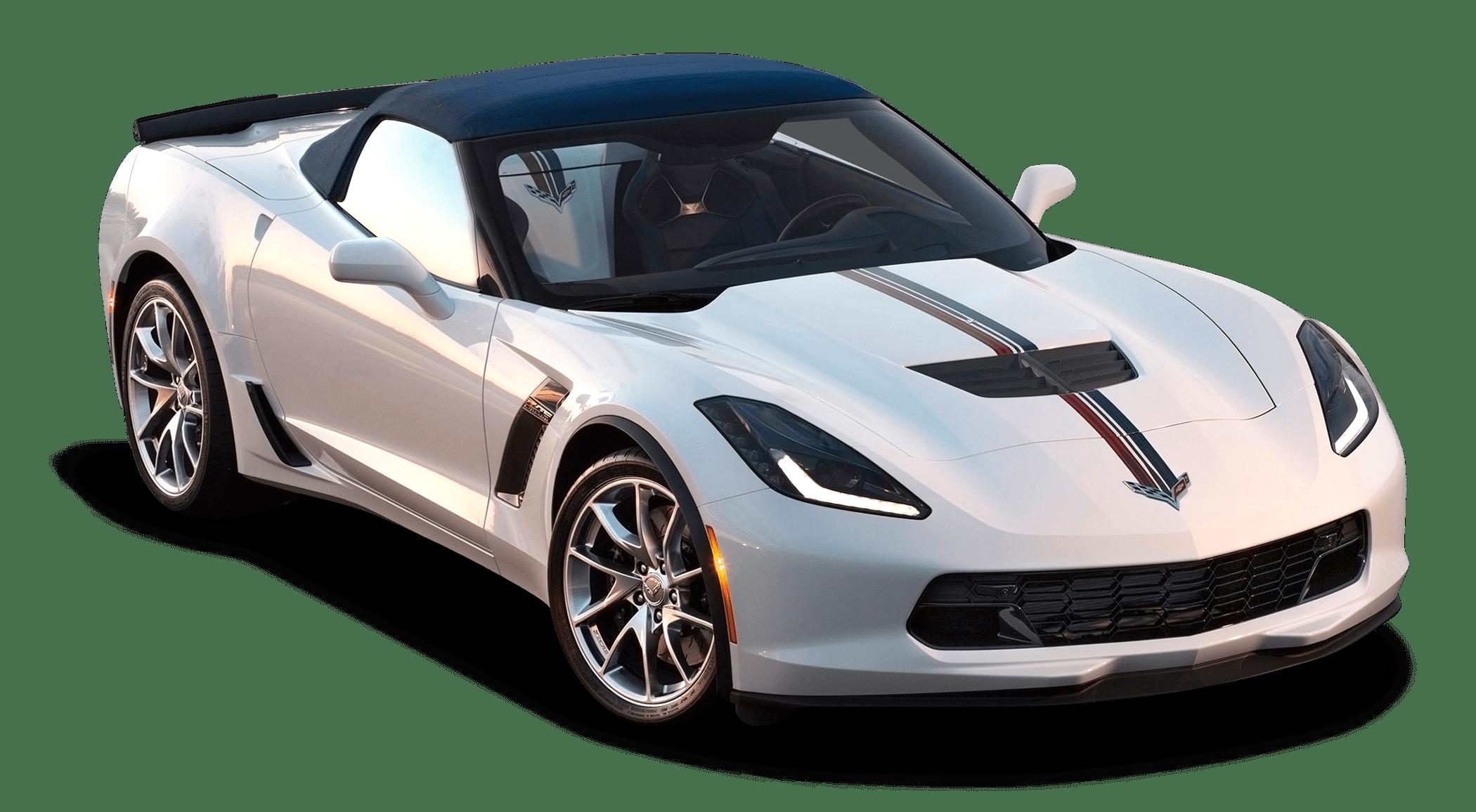 White Corvette transparent PNG.