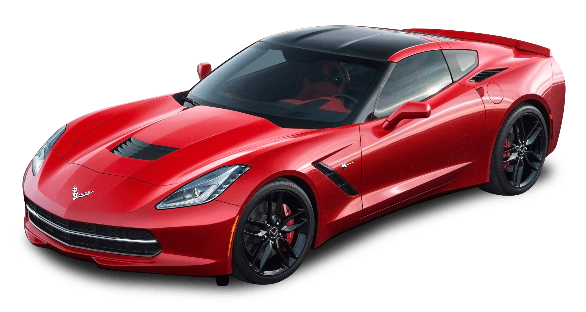 Red Corvette transparent PNG.