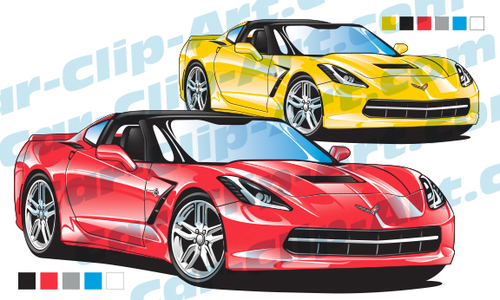 Corvette C7 Stingray Vector Clip Art — Car.