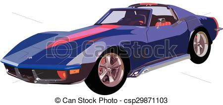 Vector Clipart of Chevy Corvette stingray.