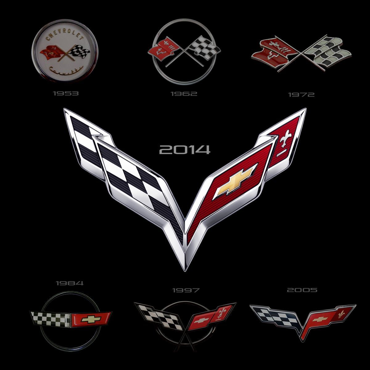 This is a look at all 7 Corvette generation logos which.